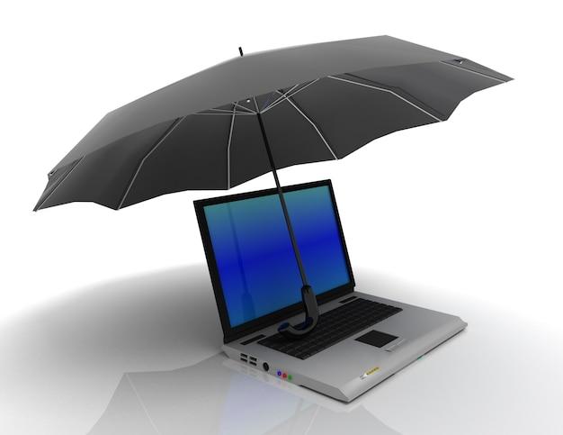 Carnet et parapluie. illustration de rendu 3d