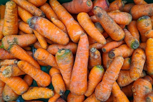 Carotte orange en boîte, arrière-plan. variété de carotte fraîche cultivée dans la boutique. nourriture savoureuse et saine