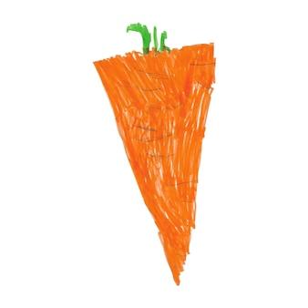 Carotte orange peinte à la main dans une illustration végétale de style enfantin isolée sur blanc