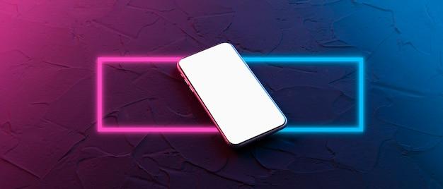 Carré néon abstrait avec des lignes lumineuses. élément de design pour votre annonce. cadre de smartphone moins d'écran vide. périphérique générique de maquette. modèle pour infographie ou présentation. interface de conception ui/ux