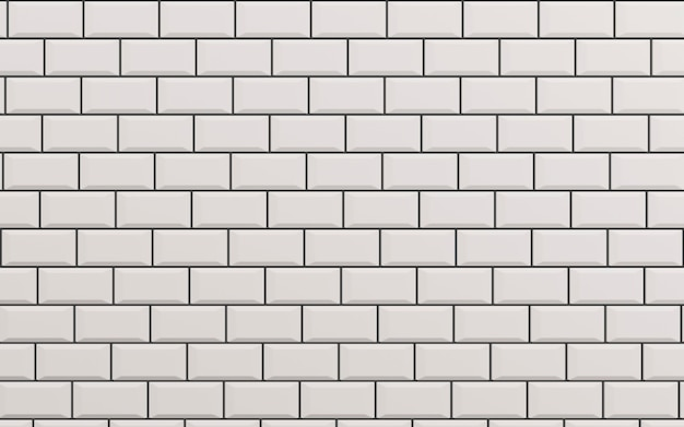 Carreaux de céramique blanc mat biseauté motif chevrons sur mur