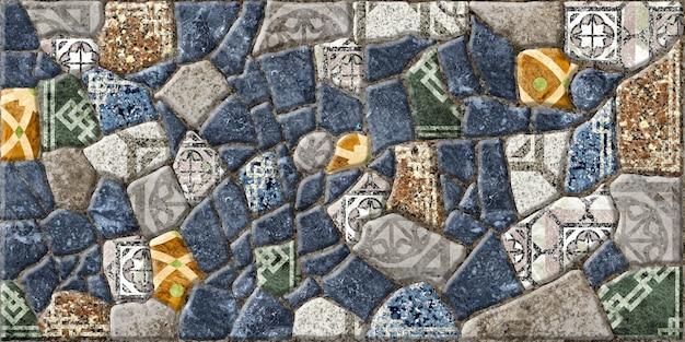 Carreaux de pierre décoratifs en relief avec mosaïques.