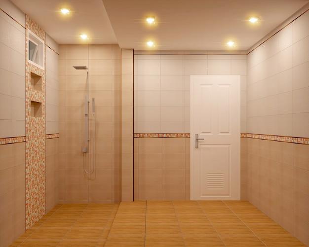 Carreaux de salle de bains orange et mosaïque de carreaux. rendu 3d