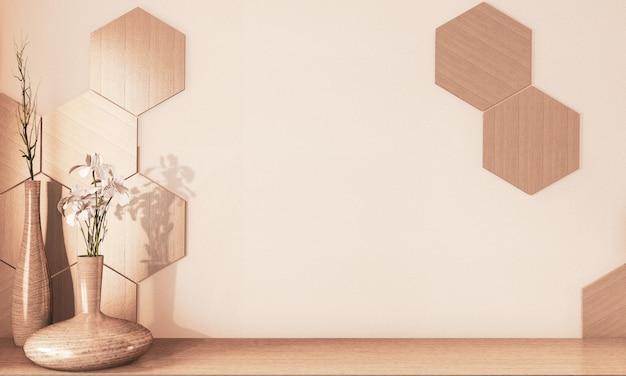 Carrelage hexagonal en bois et vase en bois sur sol en bois ton rendu de terre.3d rendu