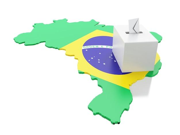 Carte 3d du brésil avec urne. élections 2018.
