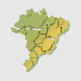 Carte abstraite du brésil en vert et jaune avec des états séparés