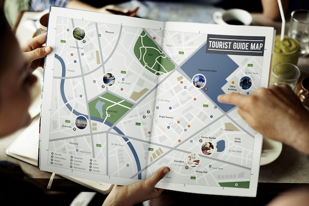 Carte adventure destination navigation route concept de voyage