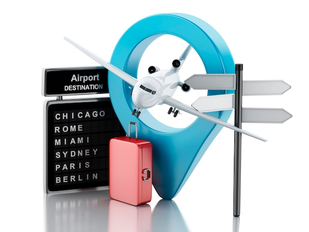 Carte d'aéroport 3d, valises de voyage et avion. concept de voyage