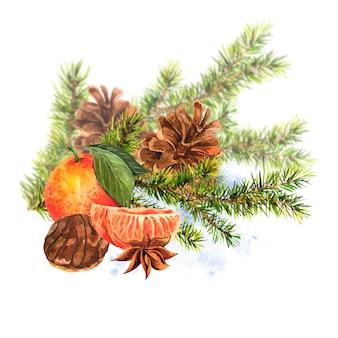 Carte d'aquarelle de noël avec une branche de sapin