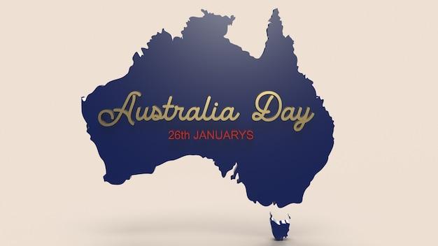 La carte de l'australie et le mot pour le rendu 3d de contenu de vacances.