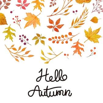 Carte d'automne hellow aquarelle
