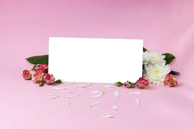 Carte blanche sur fond rose. rectangle blanc sur fond de roses roses et de chrysanthèmes blancs, pétales de chrysanthèmes. un endroit pour le texte. cadeau certifié. plaque vide
