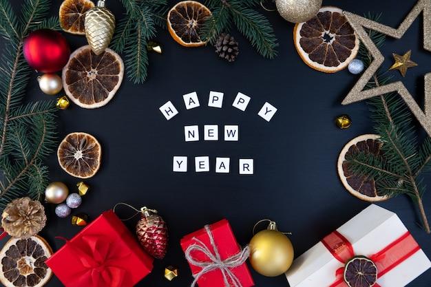 Carte de bonne année sur fond noir