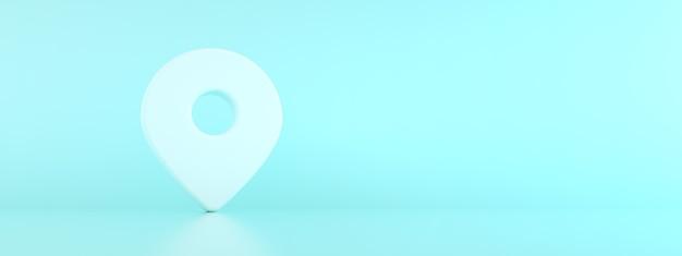 Carte de broche de localisation 3 d rendu sur fond bleu, symbole de navigation, image de maquette panoramique