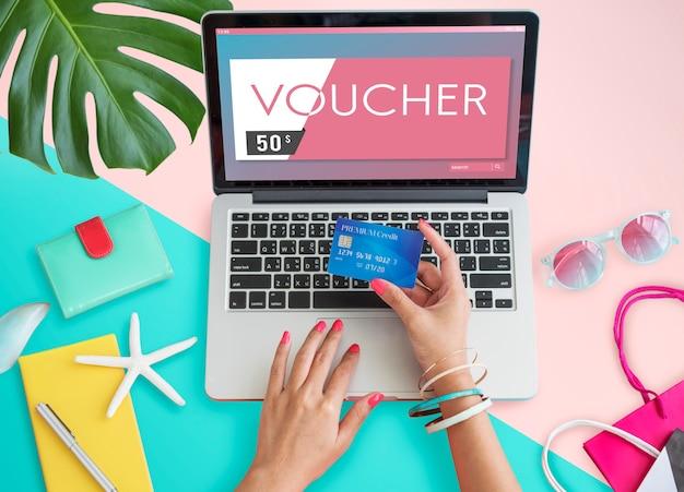 Carte-cadeau coupon coupon concept graphique