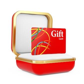 Carte-cadeau rouge dans la boîte-cadeau rouge sur fond blanc. rendu 3d