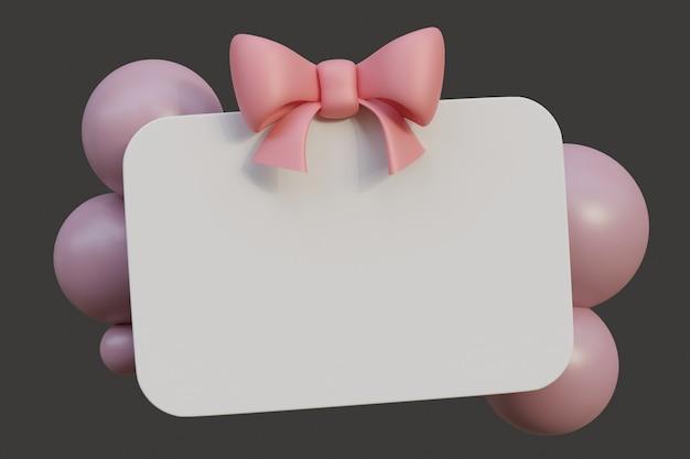 Carte-cadeau avec ruban arc rose et bulles illustration de rendu 3d