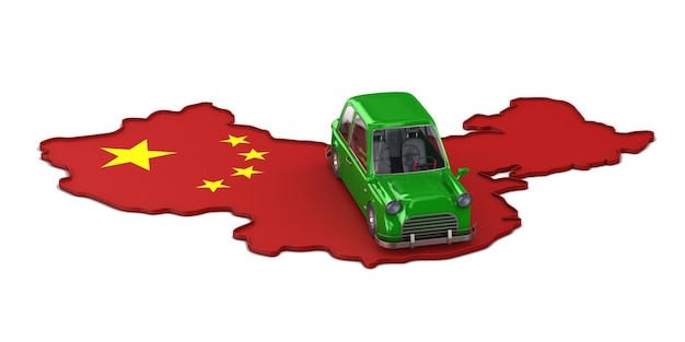 Carte chine et voiture verte sur blanc