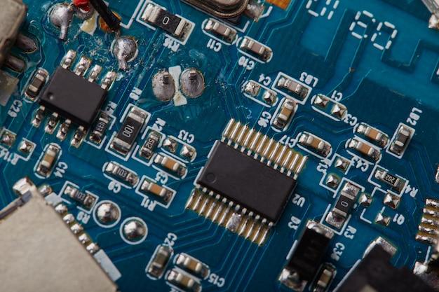 Carte de circuit électronique close up détails.