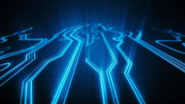 Carte de circuit imprimé d'illustration 3d électronique de haute technologie. beau fond de puce. circuit abstrait. différentes couleurs dans mon profil
