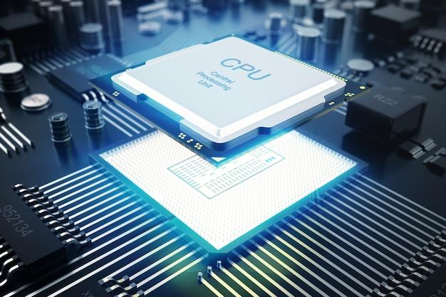 Carte de circuit imprimé de rendu 3d. contexte technologique. processeurs informatiques centraux concept cpu