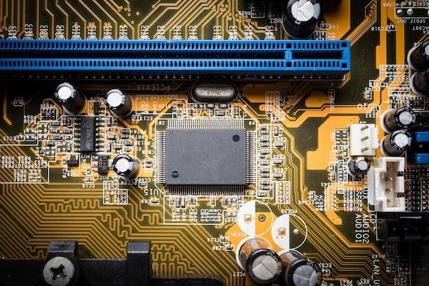 Carte de circuit informatique, arrière-plan de la technologie électronique.