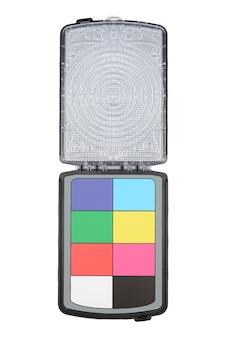 Carte de contrôle de couleur pour ajuster et équilibrer la couleur, isolée sur fond blanc. avec chemin de détourage