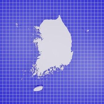 Carte de la corée du sud rendu
