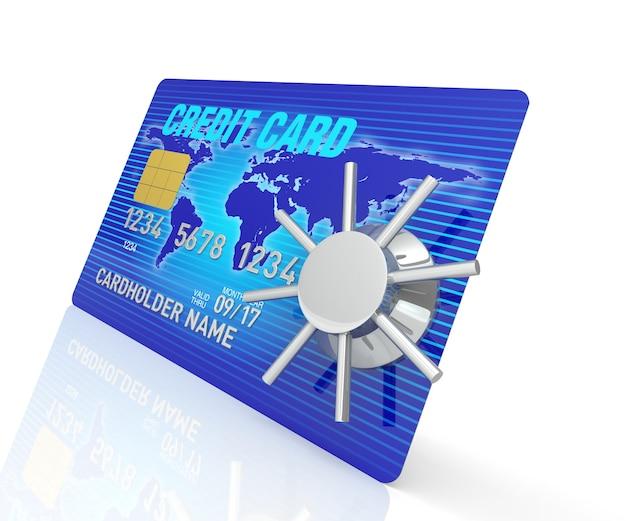 Une carte de crédit bleue de rendu 3d avec coffre-fort