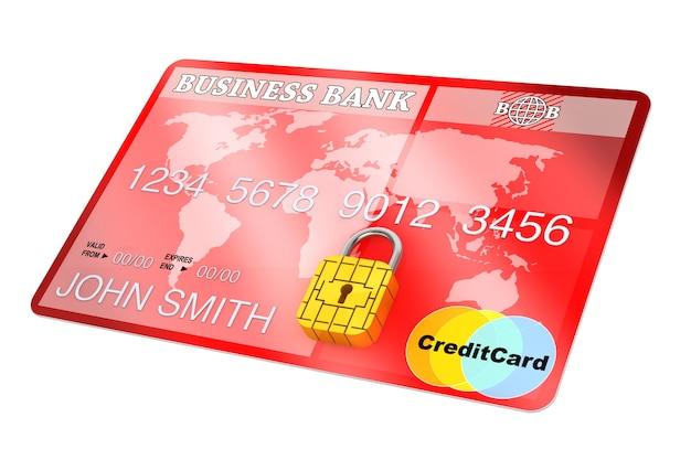 Carte de crédit avec puce de sécurité comme cadenas sur fond blanc