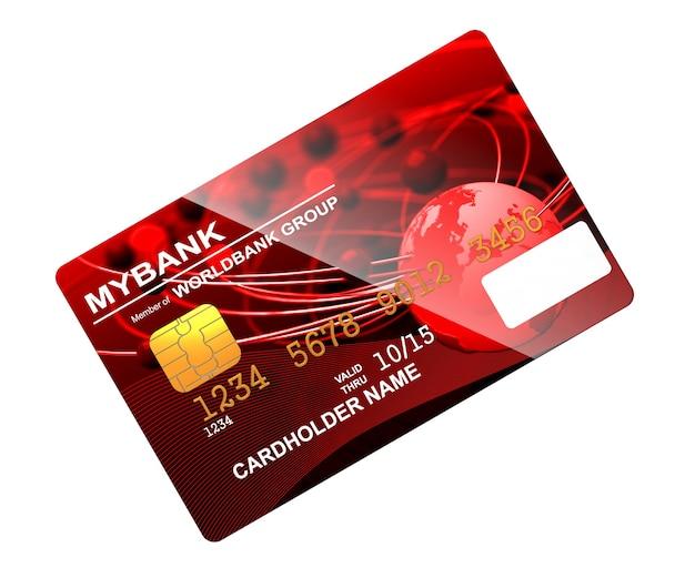 Carte de crédit rouge isolé sur blanc