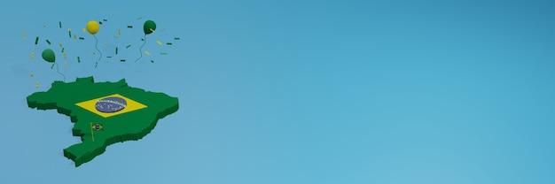 Carte du brésil pour les médias sociaux et la couverture de fond de site web pour célébrer la journée nationale du shopping et la fête de l'indépendance nationale en rendu 3d