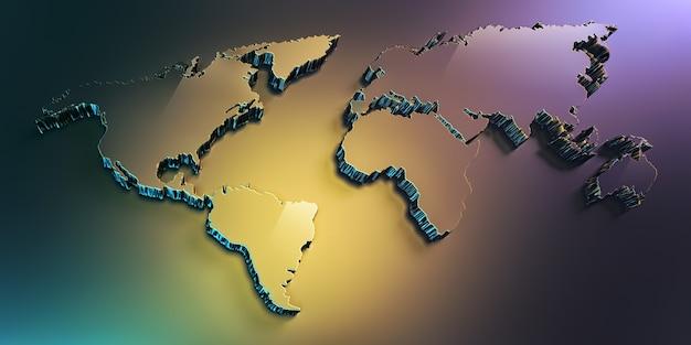 Carte du monde 3d plein écran avec lumière douce multicolore