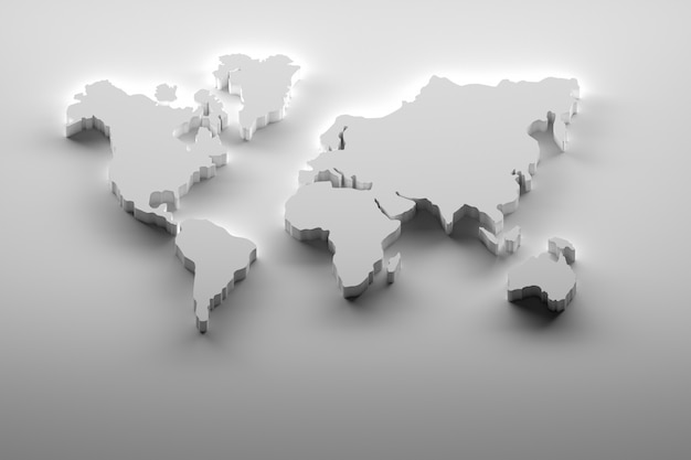Carte du monde blanc gras sur blanc