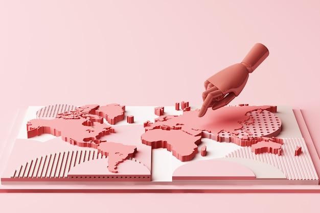 Carte du monde avec la composition abstraite du concept de la main de l'homme de plates-formes de formes géométriques dans le rendu 3d de ton rose pastel