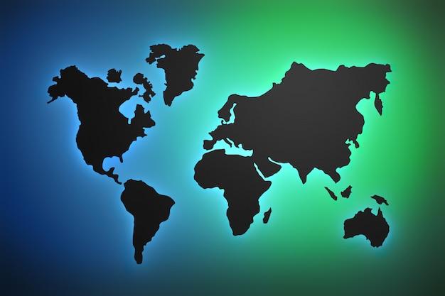 Carte du monde en dégradé de vert et de bleu