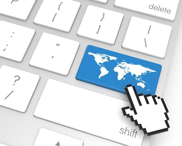 Carte du monde entrer la touche avec le curseur de la main. le rendu 3d de la carte de la terre provient de http://earthobservatory.nasa.gov/