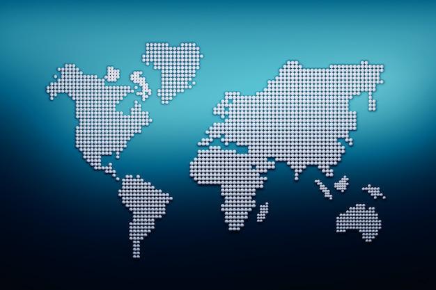 Carte du monde faite de boules blanches sur bleu