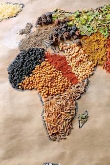 Carte du monde faite de différents types d'épices, gros plan