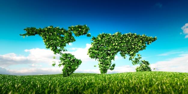 Carte du monde des feuilles placée sur l'herbe fraîche du printemps. conception conceptuelle du développement mondial durable. illustration 3d.