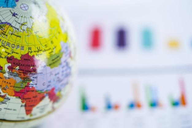 Carte du monde globe sur graphique
