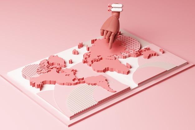 Carte du monde avec la main de l'homme et le concept de bombe composition abstraite de plates-formes de formes géométriques dans le rendu 3d de ton rose pastel
