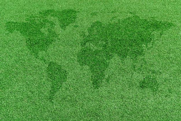 Carte du monde sur pelouse verte