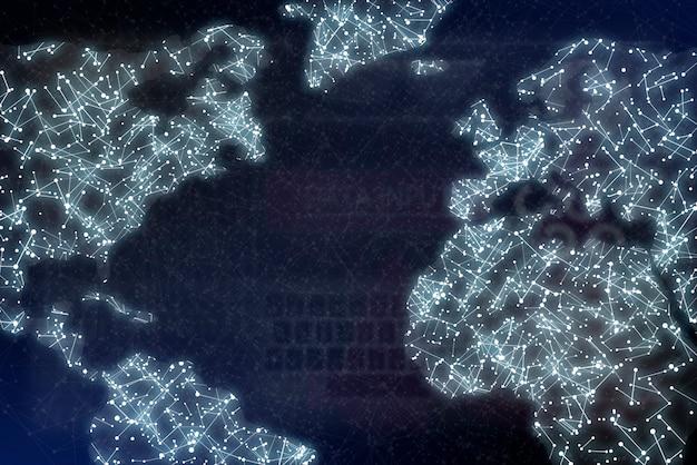 Carte du monde avec des points et des lignes, réseau mondial de communication numérique