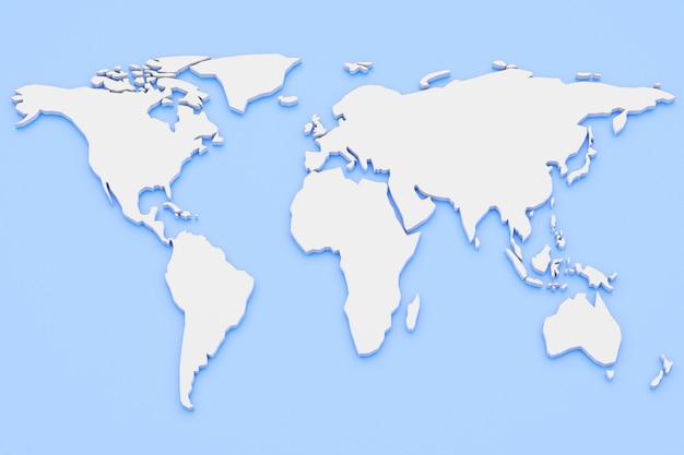 Carte du monde de rendu 3d continents blancs sur fond bleu. atlas du monde vide avec espace copie.