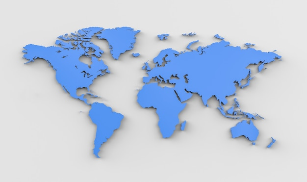 Carte du monde rendu 3d