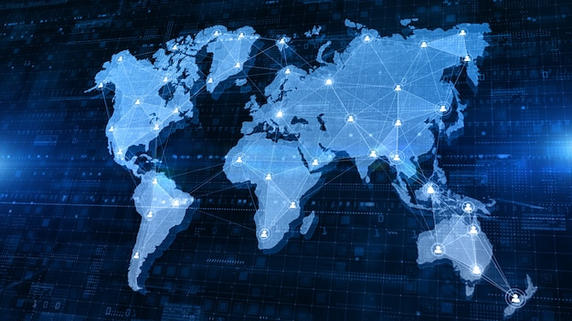 Carte du monde de structure de connexion réseau avec les personnes d'icône d'utilisateur