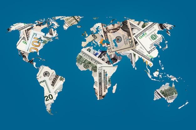 Carte du monde de la texture du dollar américain