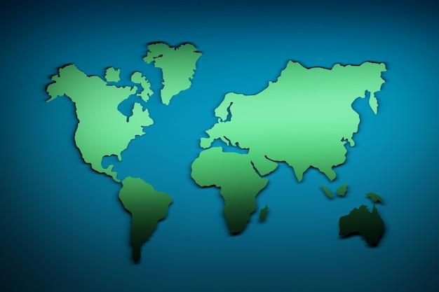 Carte du monde en vert et bleu