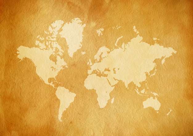 Carte du monde vintage sur vieux papier parchemin